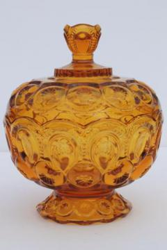 amber glass candy dish, vintage moon and stars pattern pressed glass bowl w/ lid
