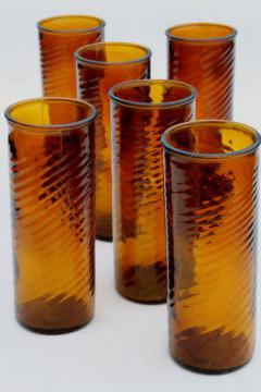 amber glass coolers / iced tea glasses, vintage Mexican glass tall tumblers