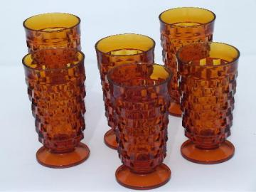 amber glass cube pattern iced tea glasses, vintage Whitehall footed tumblers