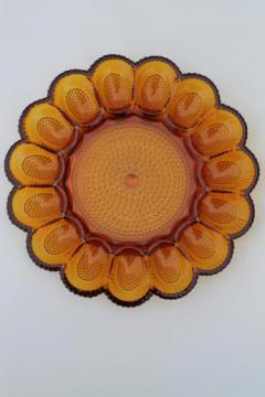 amber glass deviled egg plate, vintage Indiana glass egg plate relish tray