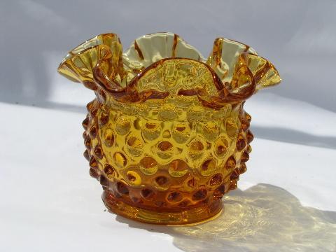 Amber Glass Ruffled Hobnail Vintage Fenton Glass Flower Bowl Vase