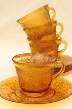 amber glass sandwich daisy pattern cups & saucers, vintage Tiara / Indiana glass