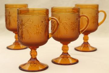 amber glass sandwich daisy pattern footed tall cups, vintage Tiara / Indiana glass