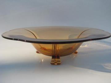amber glass vintage Fostoria three-toed footed console/centerpiece bowl