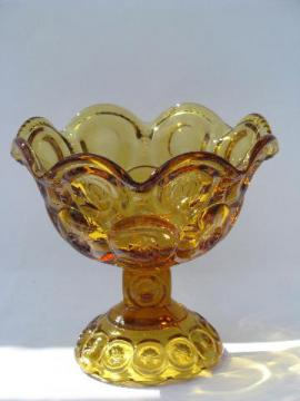 amber moon & stars glass, small compote, candy dish or pedestal flower bowl