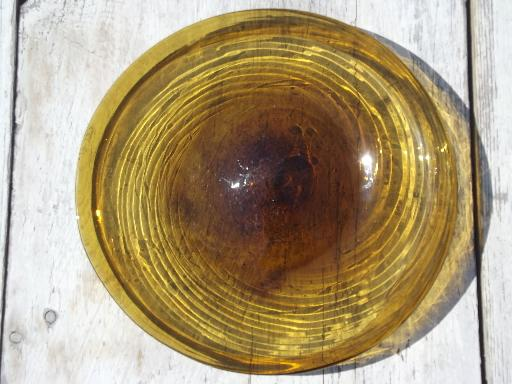 Amber Swirl Hand Blown Glass Plates Vintage Mexican Art