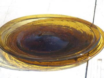 amber swirl hand-blown glass plates, vintage Mexican art glass w/ pontil marks