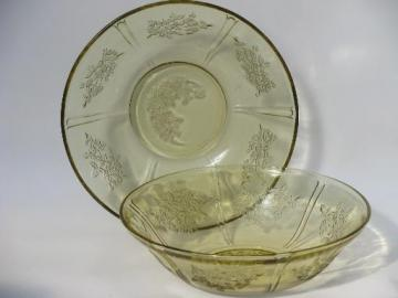 amber yellow Sharon cabbage rose depression glass, two serving bowls