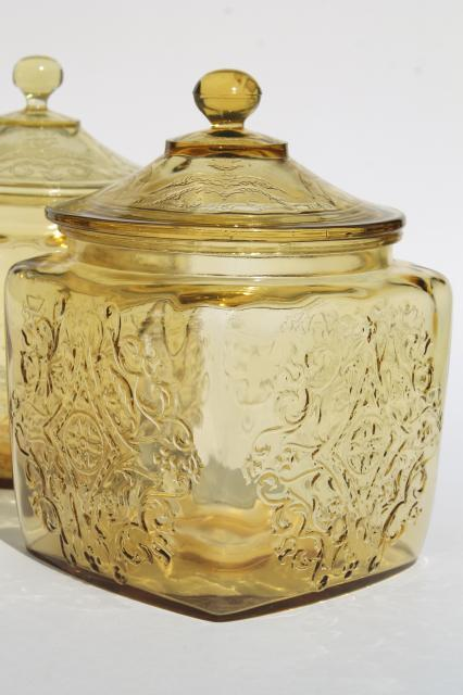amber yellow depression glass cookie biscuit jars, Indiana Recollection & Federal Madrid