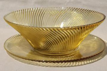 amber yellow depression glass salad bowl & serving plate, Federal glass Diana