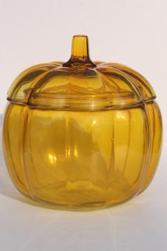 amber yellow pumpkin, glass cookie jar canister for fall harvest table, Halloween or Thanksgiving