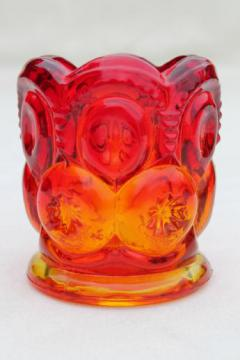 amberina glass toothpick holder vase, vintage moon & stars pattern glass