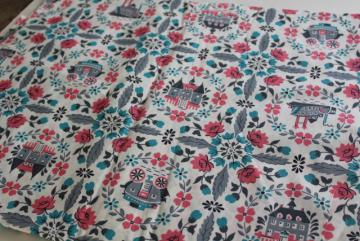 antebellum scenes of old south fabric, mid-century vintage pink & aqua print cotton