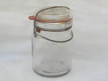 antique 1 pt Security Seal fruit jar, lightning lid and wrinkled glass