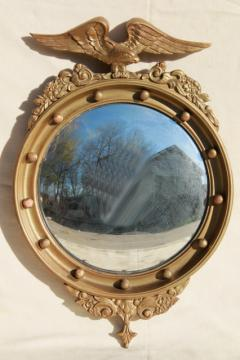 antique 1800s American centennial silvered glass fisheye mirror, convex bubble glass in gold eagle frame