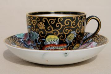 antique 1800s England Ashworth Chinese black chinoiserie tea cup & saucer set