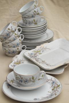 antique 1800s English ironstone china transferware dishes set for 8