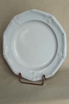 antique 1800s Wedgwood ironstone china plate or soup bowl, heavy embossed border horse chestnut