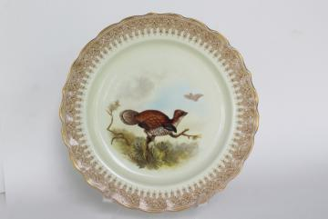 antique 1800s ironstone game birds bird plate, Geo Shreve Royal Worcester china