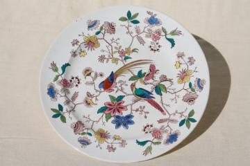antique 1800s vintage Davenport china plate, Orient pattern India tree of life w/ parrots
