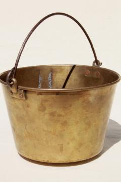 antique 1800s vintage Hayden's Waterbury brass bucket, cooking pot kettle w/ bail handle