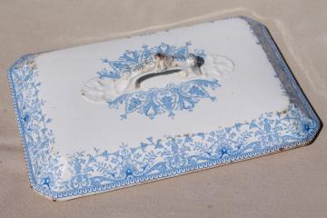 antique 1800s vintage blue & white transferware china lid, rectangular cover for serving dish
