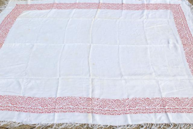 antique 1800s vintage cotton damask tablecloth, redwork embroidery border