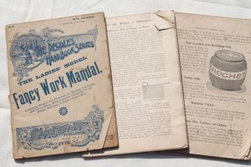 antique 1800s vintage needlework books, embroidery patterns, tatting, crochet & knitting pattern