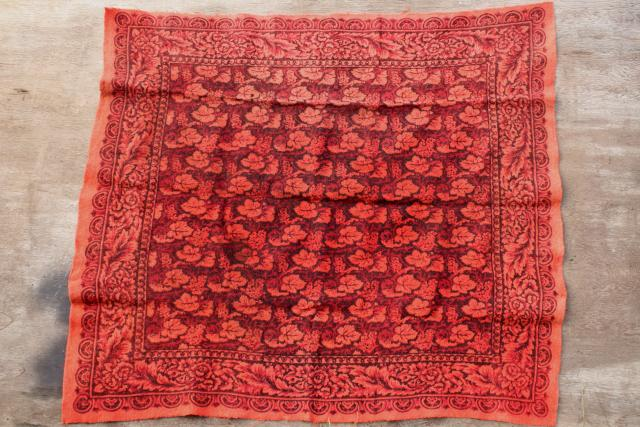 Antique 1800s Vintage Wool Tablecloth Turkey Red William
