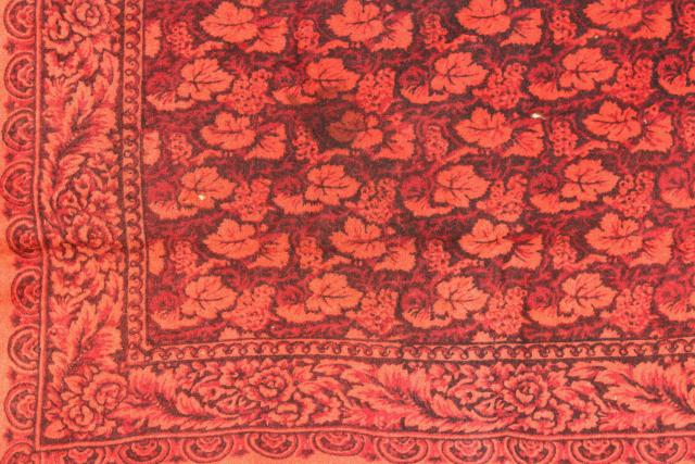 antique 1800s vintage wool tablecloth, turkey red William Morris style print