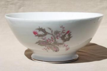 antique 1860s wedding punch bowl, civil war vintage moss rose ironstone china