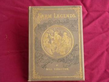 antique 1870s Farm Legends illustrated poetry, Victorian gilt art binding