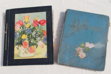 antique 1880s - 1930s scrapbook albums, one lady's collections of snips, cards, keepsakes