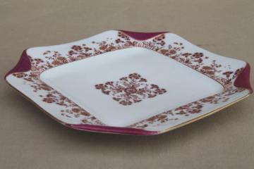 antique 1880s Haviland Limoges china tray or serving plate w/ folded handkerchief edge