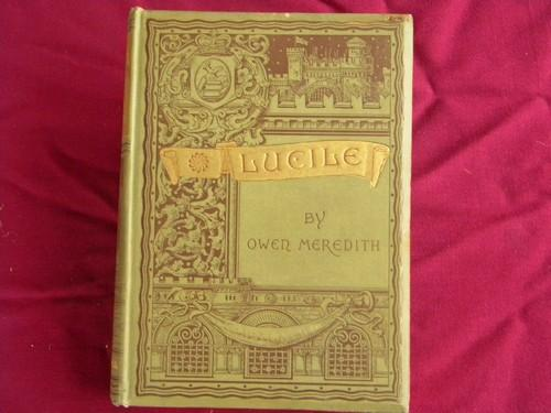 antique 1880s Lucile illustrated poetry w/ Victorian gilt art binding