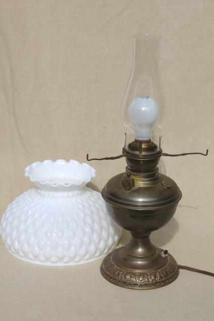 Antique 1880s vintage brass oil lamp electricfied light w milk antique 1880s vintage brass oil lamp electricfied light w milk glass shade mozeypictures Images