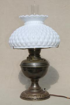 antique 1880s vintage brass oil lamp, electricfied light w/ milk glass shade