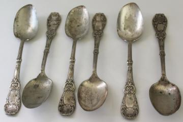 antique 1890s silver plate spoons, gilded age gothic ornate Tuxedo pattern Rogers & Bro