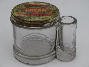 antique 1901 Diamond Ink glass jar paste pot, rare original vintage lid