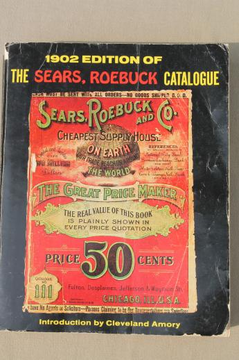 antique 1902 Sears, Roebuck mail order catalog, full size vintage reproduction