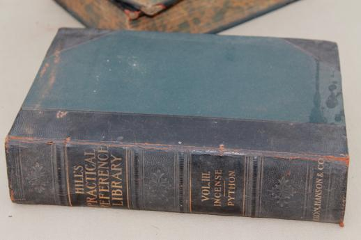 antique 1906 four volume reference library, Hill's pratical illustrated encyclopedia books
