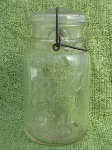 antique 1908 Ball mason canning jars, glass lightning lids w/ wire bails