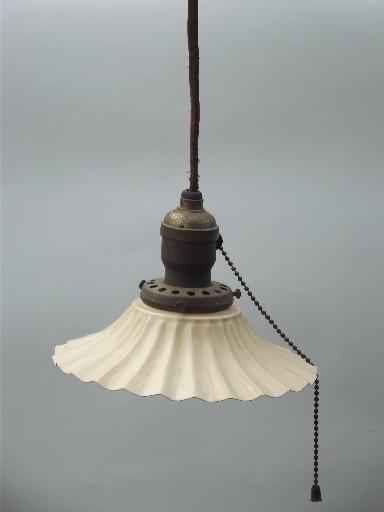 antique 1910 ceiling fixture pendant light, crimped fluted toleware shade