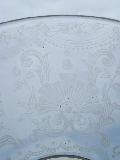 antique 1910 ceiling fixture pendant light, original etched glass shade