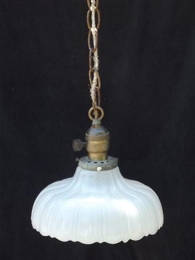 Antique 1910 vintage ceiling fixture pendant light white for Antique pendant light fixtures