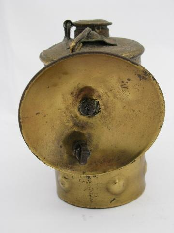 antique 1914 brass Guys Dropper carbide caver or miner's head lamp for restoration or parts