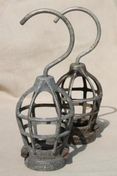antique 1920s vintage industrial light cages for work light or factory lighting