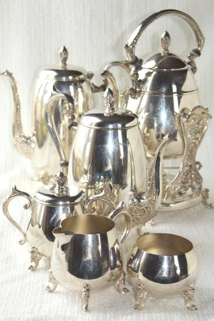 antique 1920s vintage silver plate over copper tea set w/ tilt kettle, coffee pot
