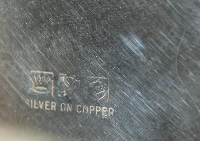 Antique 1920s Vintage Silver Plate Over Copper Tea Set W