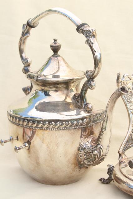 Antique 1920s Vintage Tilt Kettle Teapot Silver Plate